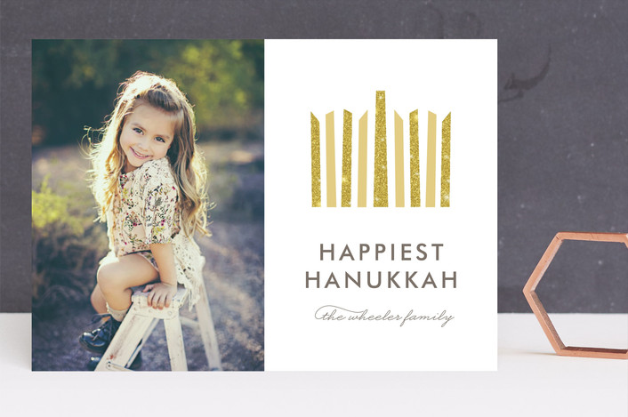 """Shining Menorah"" - Modern Hanukkah Cards in Honey by Lehan Veenker."
