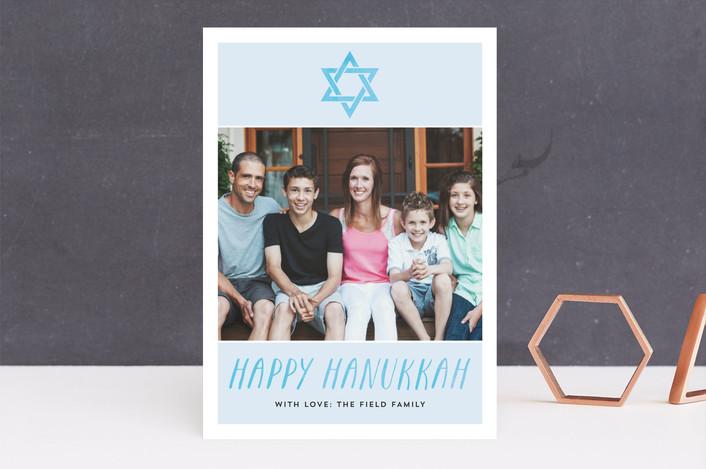 """""""Hanukkah Watercolor"""" - Modern Hanukkah Cards in Azure by Amanda Larsen Design."""