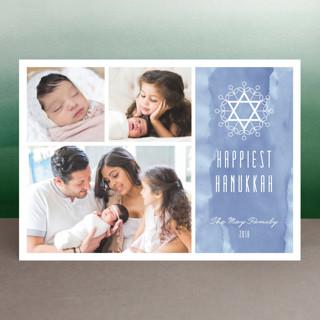 Floral David Star Hanukkah Cards