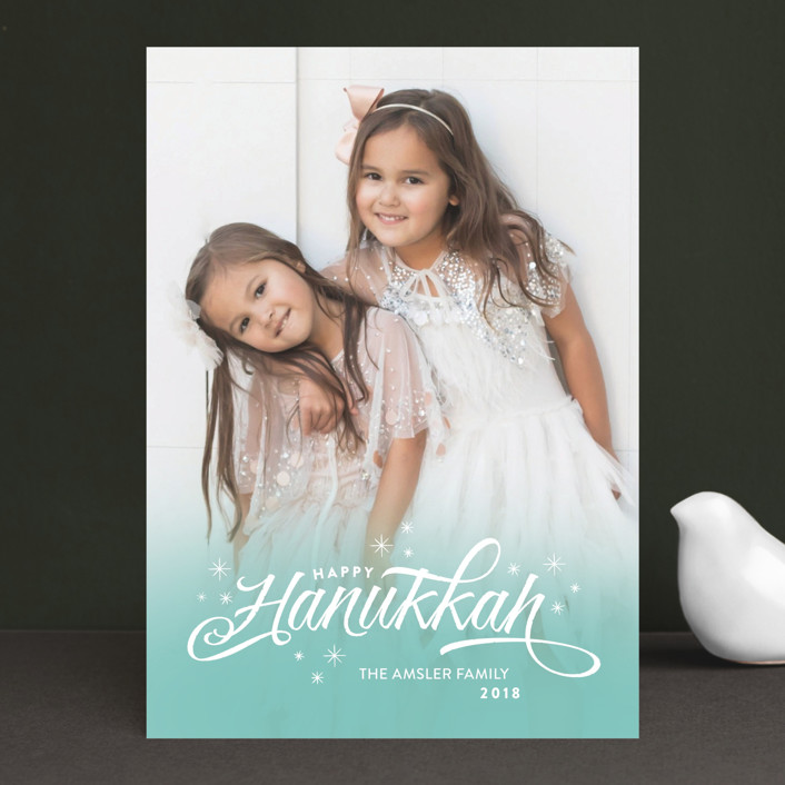 """Ombre Stars"" - Elegant Hanukkah Cards in Aqua by Aspacia Kusulas."