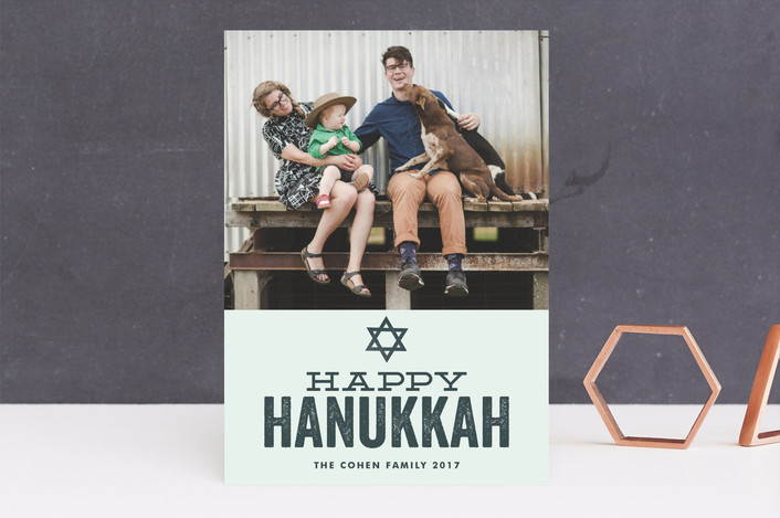 """Hand Stamped"" - Hanukkah Cards in Rustic Blue by Jessie Steury."