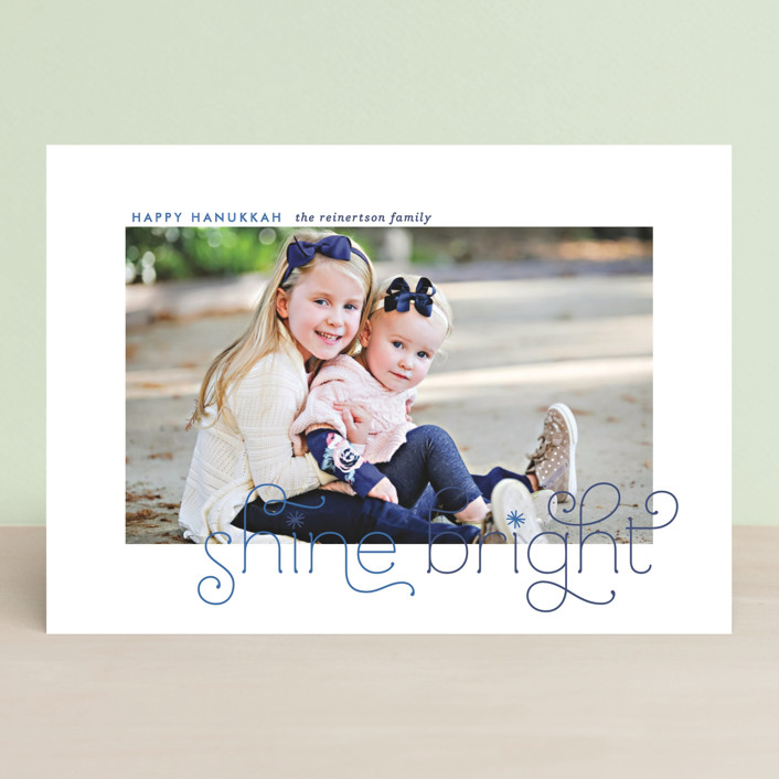 """""""Bright Burst"""" - Bold typographic, Simple Hanukkah Cards in Sapphire by Lauren Chism."""