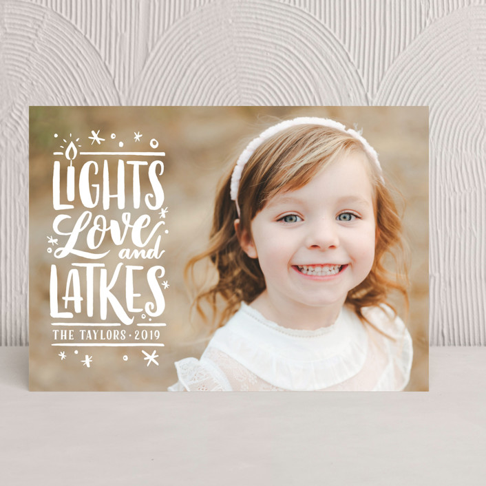 """""""Glowing LIghts"""" - Funny Hanukkah Cards in Bright White by Laura Bolter Design."""