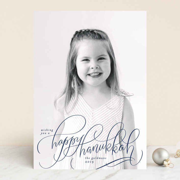 """Scripted Hanukkah"" - Hanukkah Cards in Navy by Laura Bolter Design."