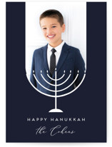 This is a blue hanukkah card by Jamie Alexander called Hanukkah Simplicity printing on smooth signature in standard.