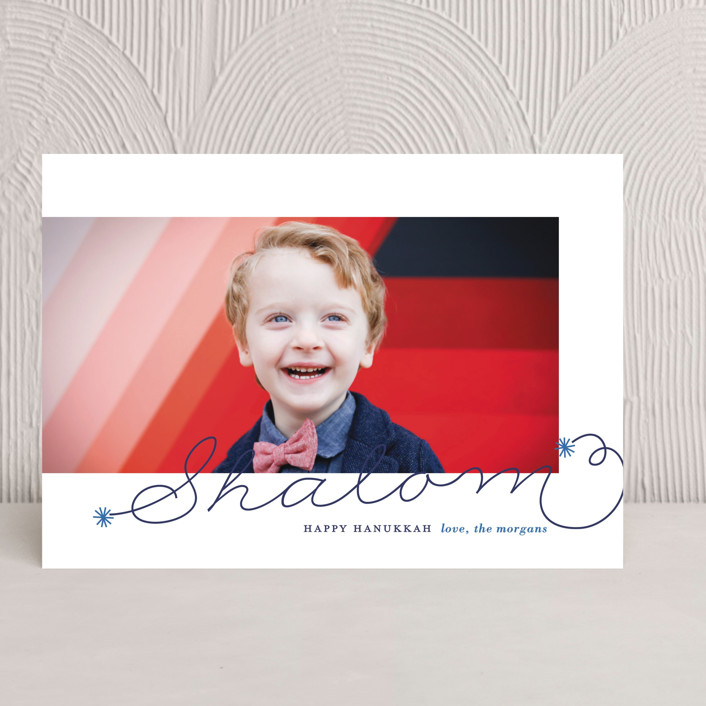 """Shalom"" - Simple, Elegant Hanukkah Cards in Marine by Lauren Chism."