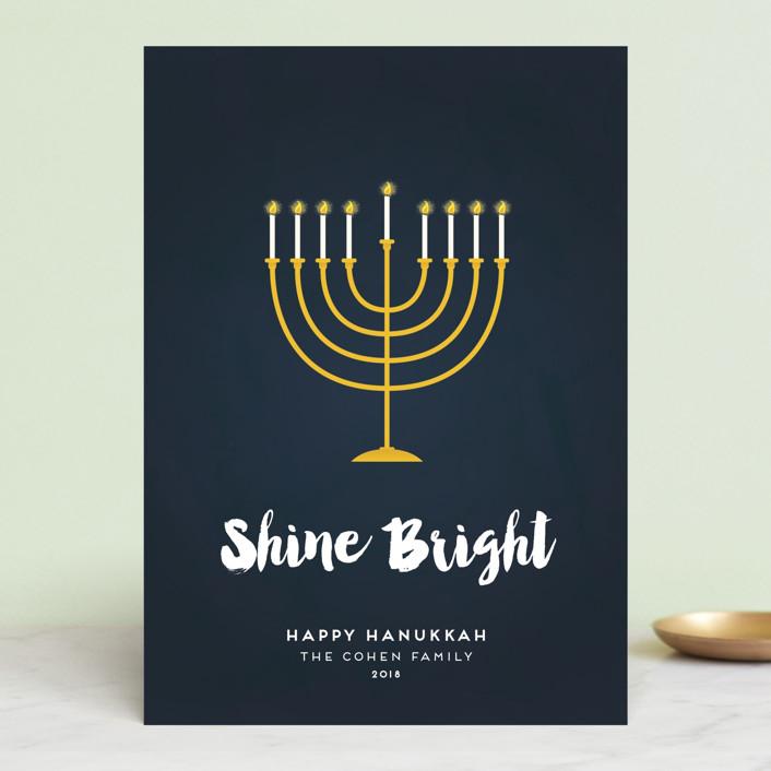 """Shine Bright Menorah"" - Hanukkah Cards in Navy by Sara Showalter."