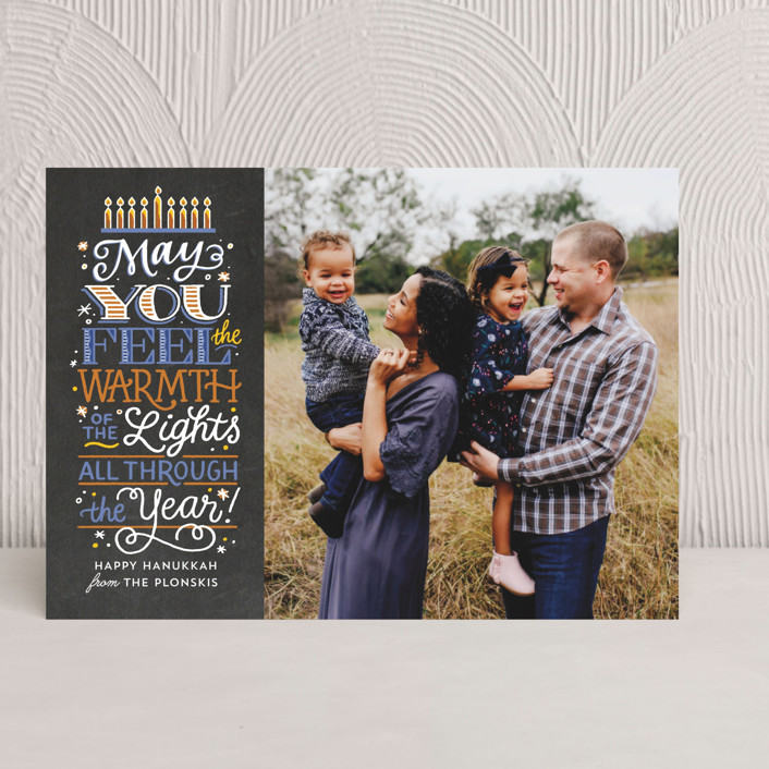 """""""Candle Warmth"""" - Bold typographic Hanukkah Cards in Midnight by Laura Bolter Design."""