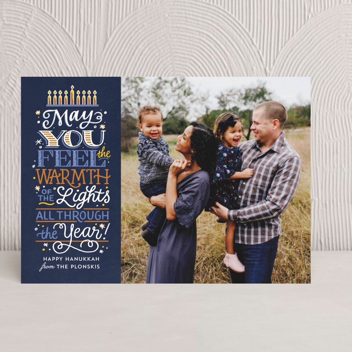 """""""Candle Warmth"""" - Vintage Hanukkah Cards in Navy by Laura Bolter Design."""
