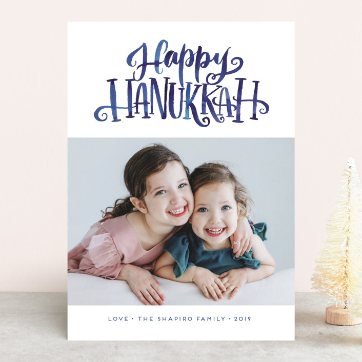 """Hanukkah Greetings"" - Hanukkah Cards in Frost by Laura Bolter Design."