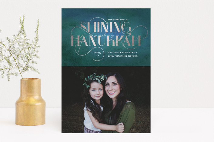 """Shining Wishes"" - Elegant, Vintage Hanukkah Cards in Turquoise Treasure by Simona Camp."