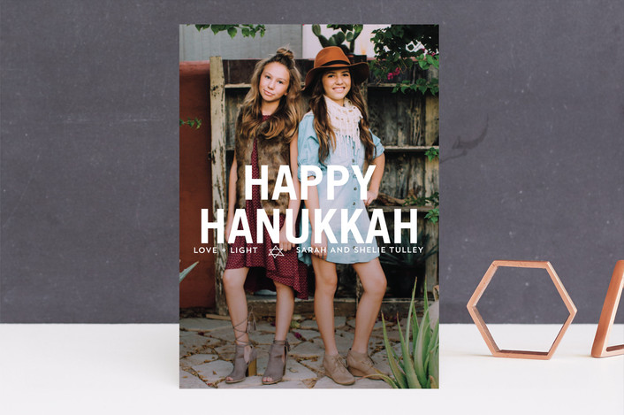 """Front and Center Hanukkah Greetings"" - Full-Bleed Photo, Bold typographic Hanukkah Cards in White by Erika Firm."