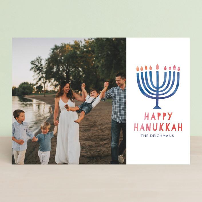 """Spirit of Hanukkah"" - Hanukkah Cards in Cobalt by Mansi."