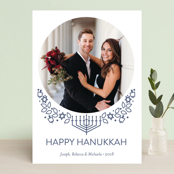 """Traditional Hanukkah Whimsy"" - Hanukkah Cards in Navy by Rebecca Marchese."