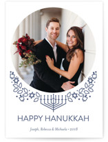 This is a blue hanukkah card by Rebecca Marchese called Traditional Hanukkah Whimsy printing on smooth signature in standard.