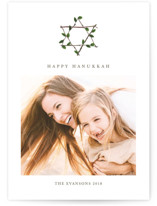 This is a brown hanukkah card by Katy Shen called Hanukkah Wreath printing on smooth signature in standard.