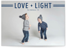 This is a blue hanukkah card by Ink and Letter called Love + Light printing on smooth signature in standard.