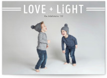 This is a white hanukkah card by Ink and Letter called Love + Light printing on smooth signature in standard.