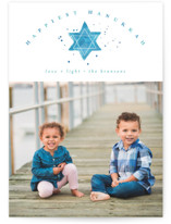 This is a blue hanukkah card by Kanika Mathur called hanukkah star printing on smooth signature in standard.
