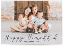 This is a blue hanukkah card by Annie Shapiro called Happy Hanukkah printing on smooth signature in standard.