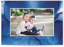 This is a blue hanukkah card by Erin Deegan called hanukkah in blue printing on smooth signature in standard.