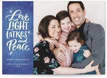 This is a blue hanukkah card by Laura Bolter Design called All Things Hanukkah printing on smooth signature in standard.