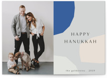 This is a blue hanukkah card by Morgan Kendall called Hanukkah Shapes printing on smooth signature in standard.