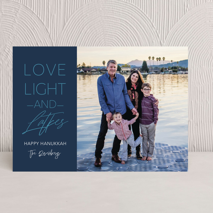"""Love Light and Latkes Hanukkah"" - Hanukkah Cards in Navy by Erika Firm."