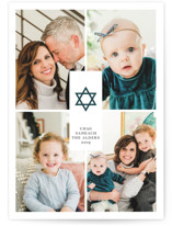 This is a blue hanukkah card by Ana de Sousa called Joyful Hanukkah printing on smooth signature in standard.
