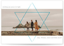 This is a blue hanukkah card by Kann Orasie called Shine the way printing on smooth signature in standard.