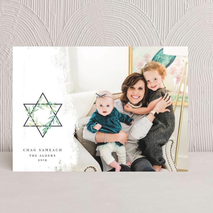 """Star of David"" - Hanukkah Cards in Olive by Ana de Sousa."