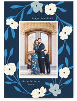 This is a blue hanukkah card by Morgan Kendall called Pop Floral with standard printing on smooth signature in standard.