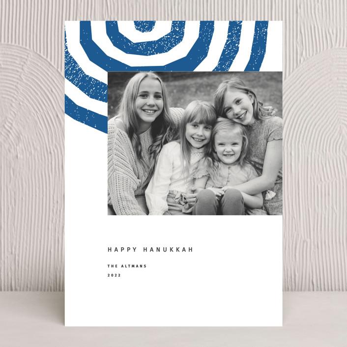 """""""Hanukkah Menorah"""" - Hanukkah Cards in Cobalt by Sumak Studio."""