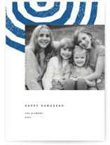 This is a blue hanukkah card by Sumak Studio called Hanukkah Menorah with standard printing on smooth signature in standard.
