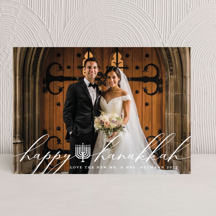 """Hanukkiah"" - Hanukkah Cards in Snow by Becky Nimoy."