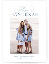 This is a blue hanukkah card by Toast & Laurel called Hanukkah Greetings printing on smooth signature in standard.