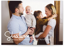 This is a white hanukkah card by Akweley Creative called Simply Shalom printing on smooth signature in standard.