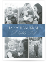 This is a blue hanukkah card by Nicole Barreto called Elegant Hanukkah with standard printing on smooth signature in standard.