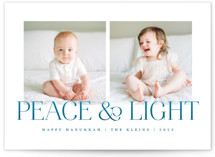 This is a blue hanukkah card by Snow and Ivy called Soft Light with standard printing on smooth signature in standard.
