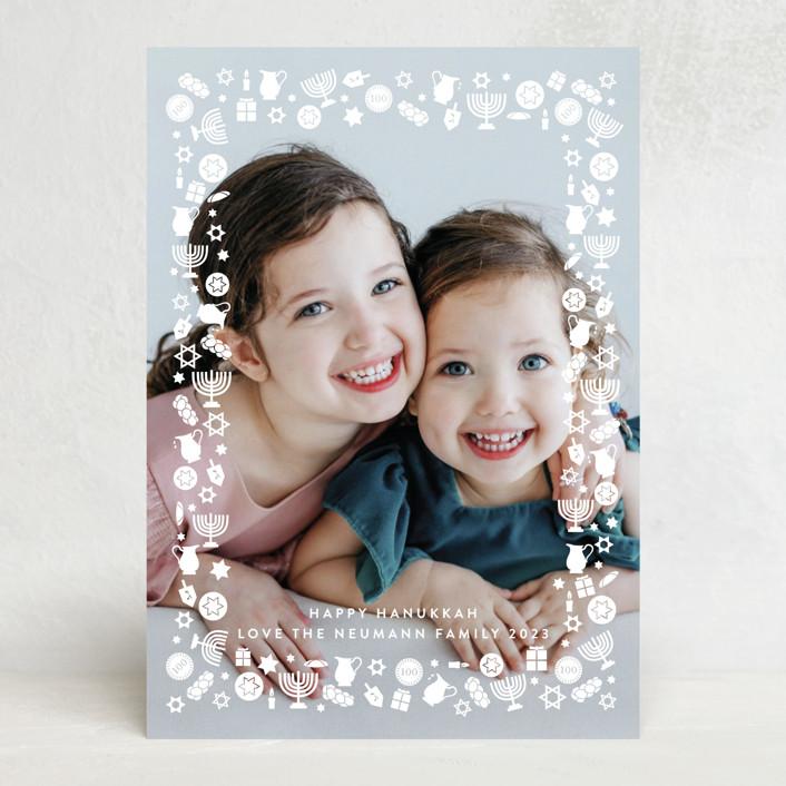 """""""Hanukkah Frame"""" - Bohemian Hanukkah Cards in Snow by Becky Nimoy."""