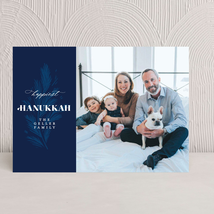 """Hanukkah Branch"" - Hanukkah Cards in Navy by Paper Raven Co.."