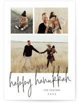 This is a white hanukkah card by Stacey Meacham called Photo shoot with standard printing on smooth signature in standard.
