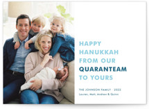 This is a blue hanukkah card by Toast & Laurel called The Quaranteam with standard printing on smooth signature in standard.