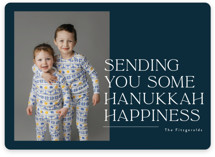 This is a blue hanukkah card by Jackie Crawford called Sending holiday happiness with standard printing on recycled smooth signature in standard.