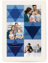 This is a blue hanukkah card by Morgan Kendall called Mod Star with standard printing on recycled smooth signature in standard.