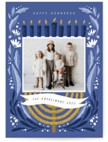 This is a blue hanukkah card by Grae called Season of Miracles with standard printing on recycled smooth signature in standard.