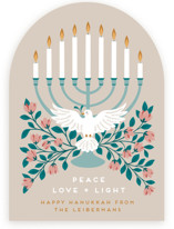 This is a beige hanukkah card by Jamie Alexander called peace, love and light with standard printing on signature in standard.