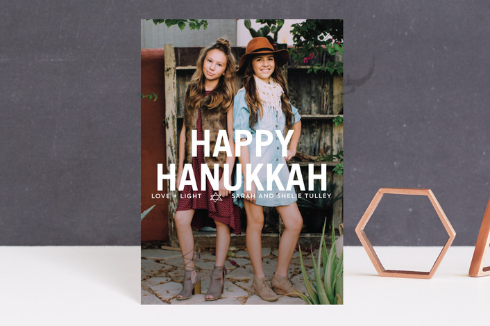"""Front and Center Hanukkah Greetings"" - Full-Bleed Photo, Bold typographic Hanukkah Postcards in White by Erika Firm."