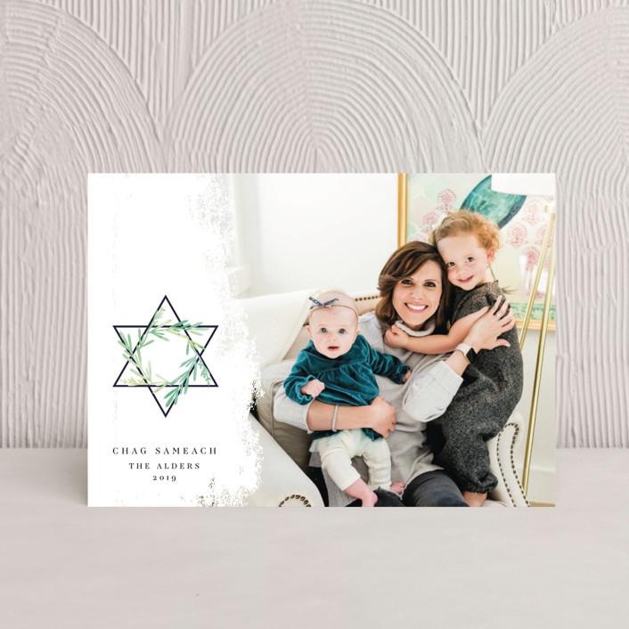 """Star of David"" - Hanukkah Postcards in Olive by Ana de Sousa."