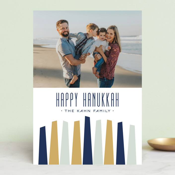 """Modern Menorah"" - Modern Hanukkah Postcards in Winter by Alston Wise."